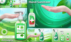 质感效果洗手液产品广告设计矢量图