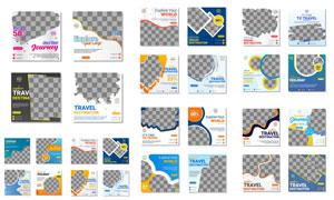 旅游产品促销广告模板矢量素材集V2
