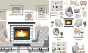 欧式风格房间家具元素主题矢量素材