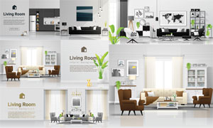 房间家具陈设场景布置主题矢量素材