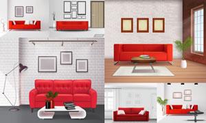 房间里红色的沙发等家具主题矢量图