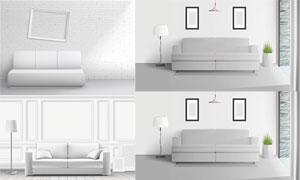 室内装饰画沙发与灯具绿植矢量素材