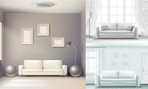 房间里的沙发与灯具等家具矢量素材
