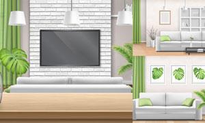 房间绿植沙发与灯具等主题矢量素材
