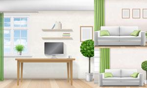 沙发书桌与绿色窗帘等主题矢量素材