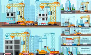 建筑物与挖掘机塔吊等主题矢量素材