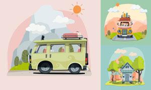 太阳云朵旅行车等创意插画矢量素材