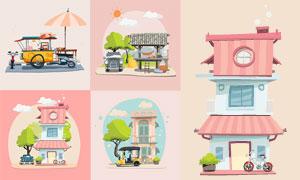 房屋别墅与大树车辆等插画矢量素材