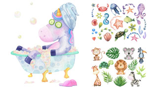 在泡澡的独角兽等卡通动物矢量素材