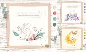 水彩手绘可爱兔子插画创意矢量素材
