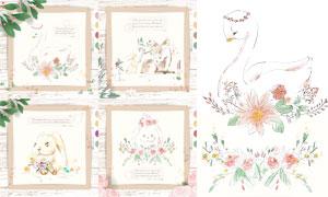 兔子白鹅与狐狸等手绘插画矢量素材