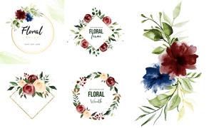 水彩花朵装饰的圆形方形边框矢量图