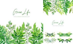 手绘水彩绿色树枝叶子主题矢量素材