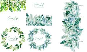 水彩绿叶装饰边框主题创意矢量素材