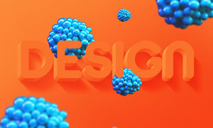 橙色立体效果文字设计模板分层素材