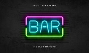 三色光效设置的霓虹字设计模板素材