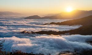 清晨美丽的哈尼梯田和云海摄影图片