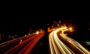 高速公路夜景光線攝影圖片