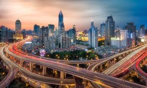 上海延安路高架桥夜景摄影图片
