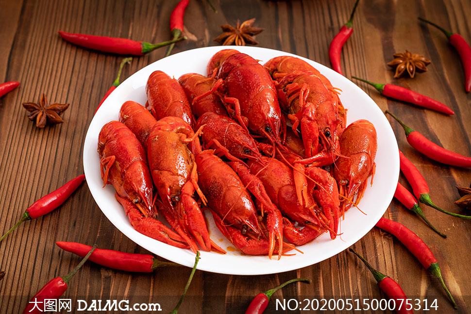 清蒸小龙虾美食高清摄影图片