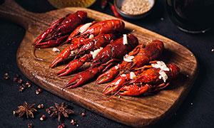蒜蓉小龍蝦美食菜品高清攝影圖片
