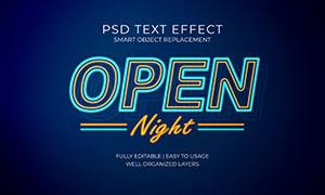 霓虹光效边框立体字设计模板源文件