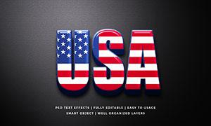 美国国旗图案立体字模板设计源文件