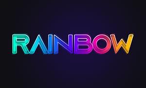 缤纷多彩彩虹色立体字模板分层素材