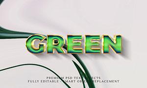 金色邊框綠色效果立體字分層源文件