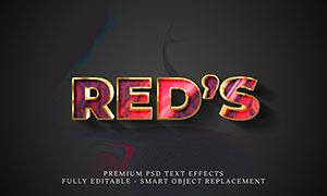 红色抽象图案金属立体字模板源文件