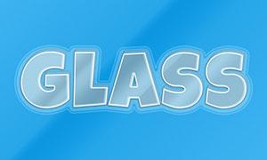 透明玻璃质感立体字设计模板源文件