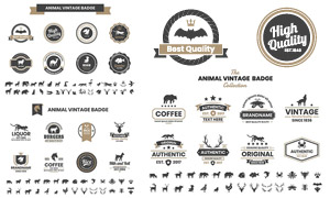 动物剪影元素复古标签设计矢量素材