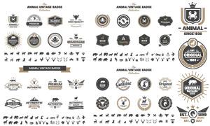 动物元素复古怀旧标签设计矢量素材