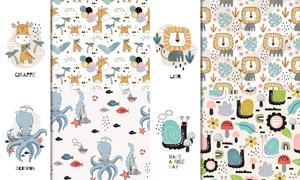 章鱼狮子与蜗牛等卡通动物矢量素材