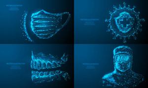 蓝色低多边形元素疫情创意矢量素材
