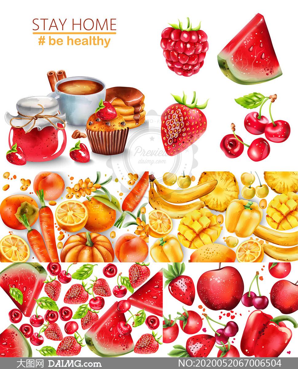 水彩效果蛋糕与水果等创意矢量素材
