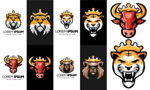 戴皇冠的动物标志设计创意矢量素材