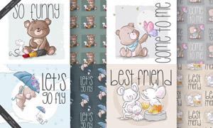 小熊与老鼠等手绘图案创意矢量素材