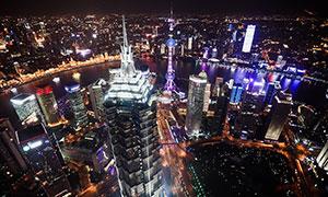 上海外灘建筑夜景高清攝影圖片