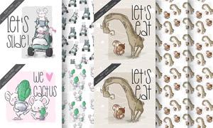 长颈鹿与老鼠等卡通图案主题矢量图