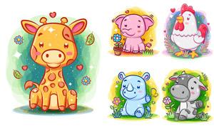 犀牛大象與公雞等卡通動物矢量素材
