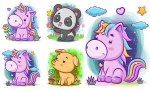 独角兽与熊猫狗狗卡通创意矢量素材
