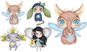 森林仙子與精靈等卡通創意矢量素材
