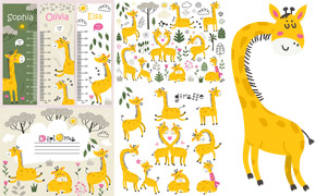 花草长颈鹿与卡通身高贴纸矢量素材