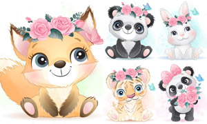 頭戴著花的卡通動物們創意矢量素材