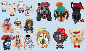 多品种戴着帽子的犬只主题矢量素材