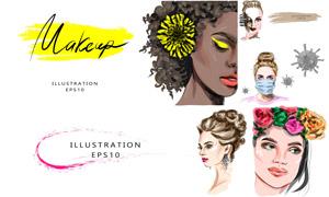 化妆打扮美女人物主题创意矢量素材