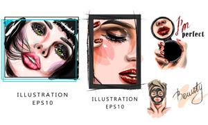 做面膜与化妆的美女人物创意矢量图