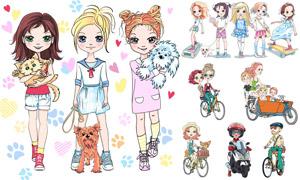 宠物猫狗与美少女插画设计矢量素材