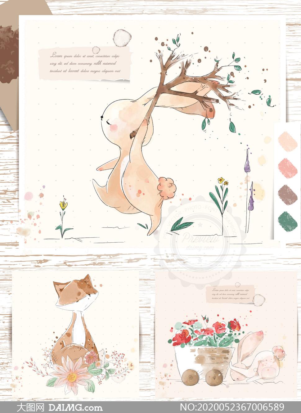 水彩手绘兔子与狐狸等插画矢量素材